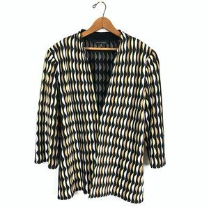 MING WANG L/S Striped Knit Blazer Jacket